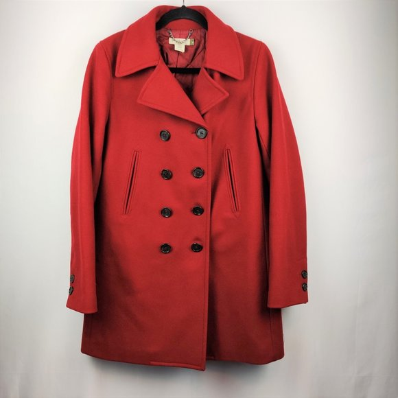 J Crew Double breasted Med Red Womens Peacoat